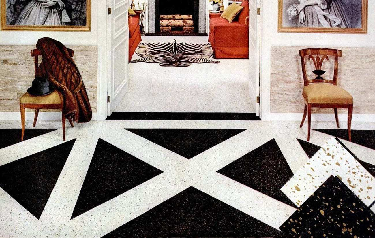 black and white checkered linoleum flooring