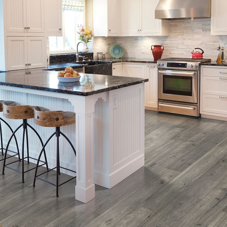 grey laminate flooring with white cabinets