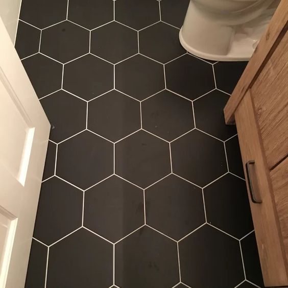 Black Hexagon Vinyl Flooring