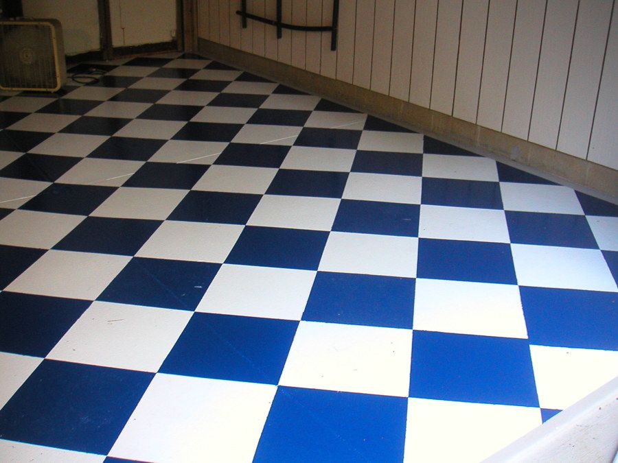 Blue and White Vinyl Flooring