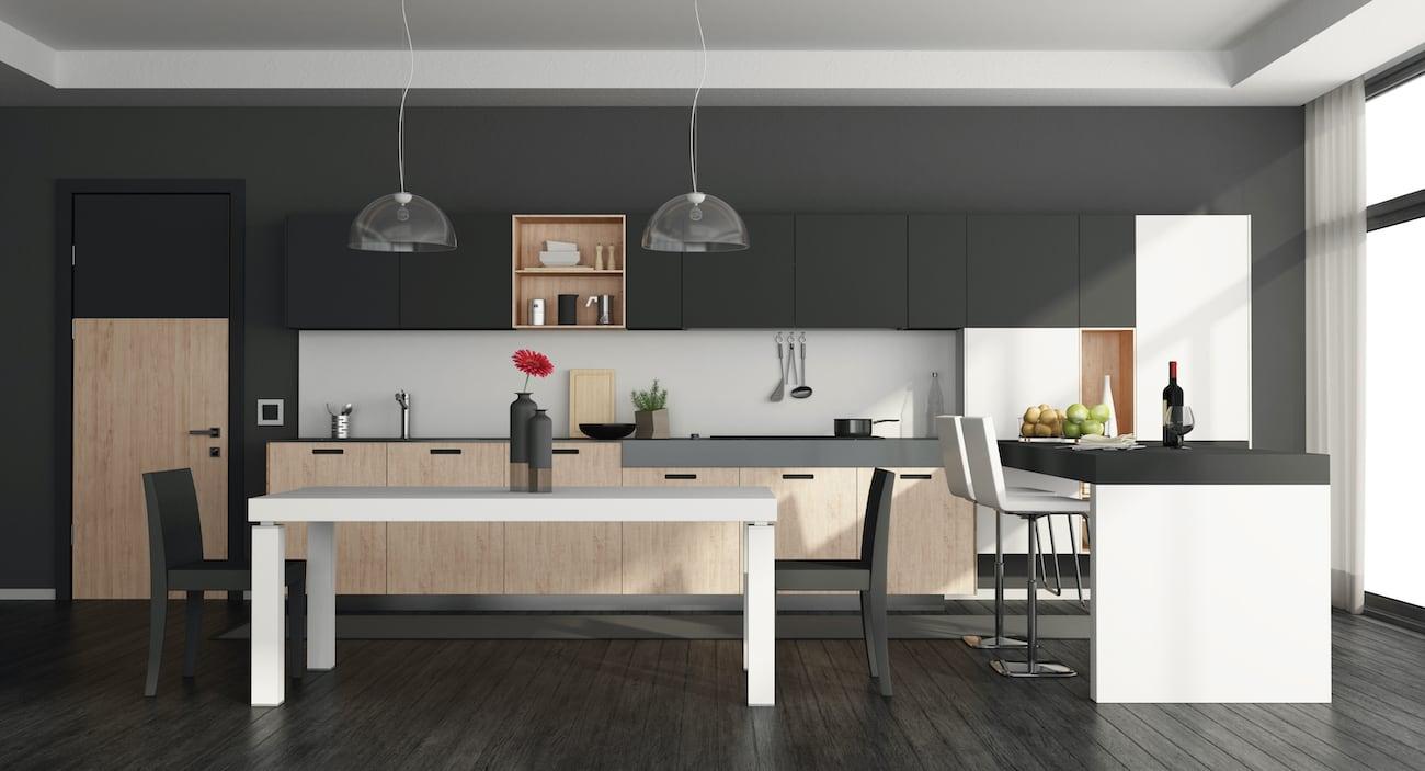 Kitchen with Black Floor